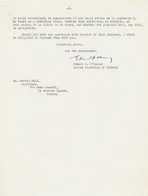 Letter from Edward R. O'Connor, Second Secretary, American Embassy to Mervyn Wall, Secretary to the Arts Council. (Page 2)